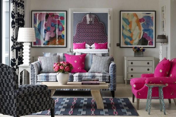 Guest bedroom in Ham Yard Hotel London, designed by Kit Kemp